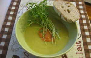 Cold Leek and Potato Soup with Red Pepper Coolis