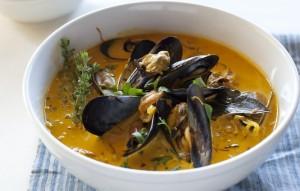 Chef Fabio Viviani's Mussel Soup with Leeks and Saffron