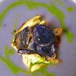 Purple Potato - Leek Soup with Sorrel Puree